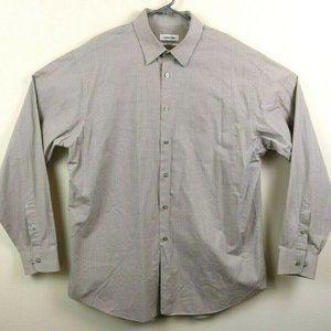 Calvin Klein Mens Shirt Collared Long Sleeve Check